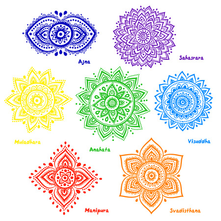 energy healing: Isolated Set of beautiful ornamental 7 chakras  Illustration