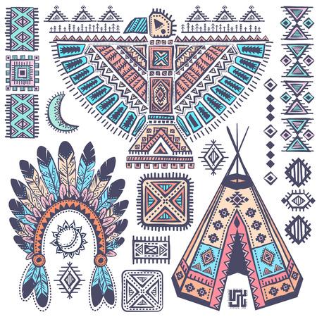 기호 빈티지 부족 아메리카 원주민 세트