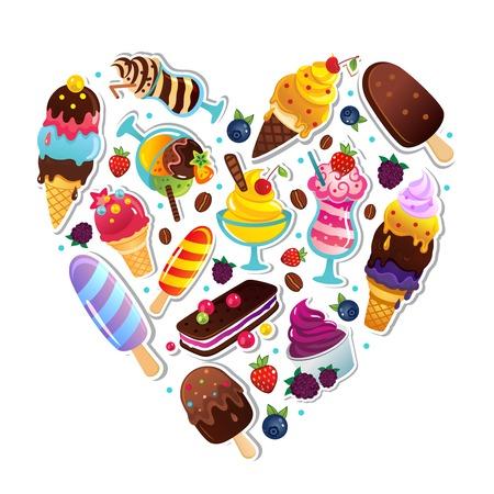 sorbet: Ice cream heart illustration