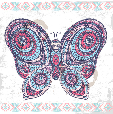 Vintage ethnic butterfly illustration   Vector