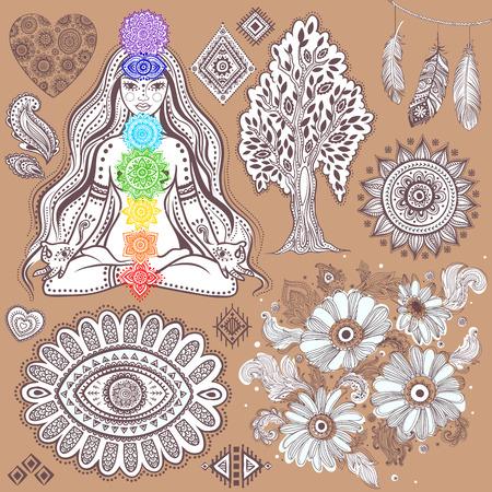 Set di elementi indiani ornamentali e simboli Archivio Fotografico - 27346124