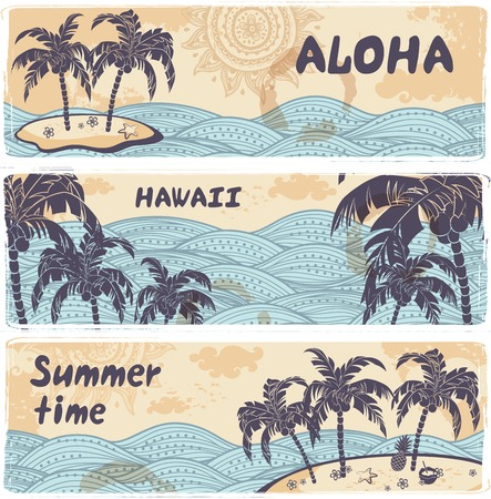 postcard: Vintage banners of Hawaiian island in the ocean