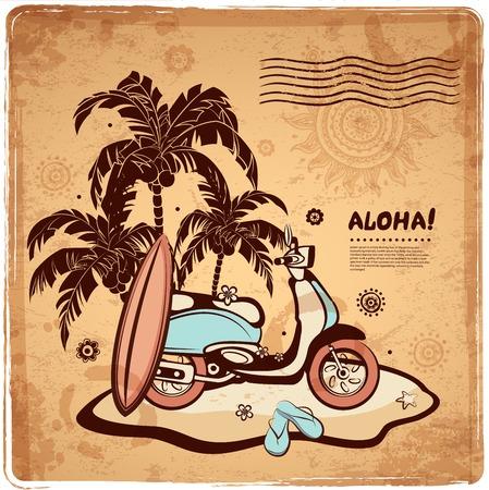 hawaii islands: Vintage illustration of Hawaiian island in the ocean