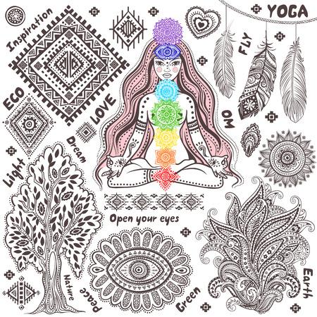 Set von ornamentalen indische Elemente und Symbole Illustration