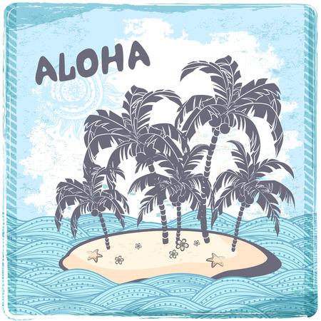 Vintage illustration of Hawaiian island in the ocean