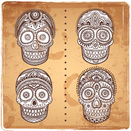 Vintage ethnic hand drawn human skull can be used as a greeting card Illusztráció