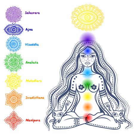 Aislado Conjunto de hermosos ornamentales 7 chakras Ilustración de vector