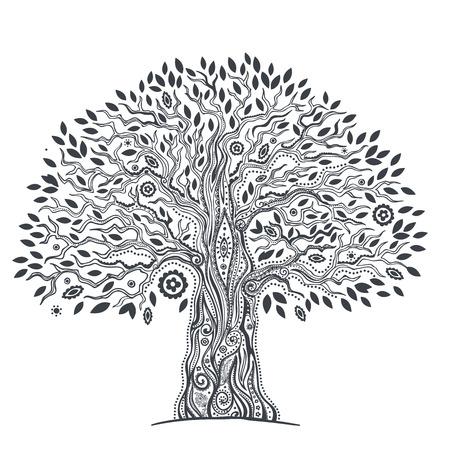 leaf tree: Bello albero etnica unica della vita illustrazione