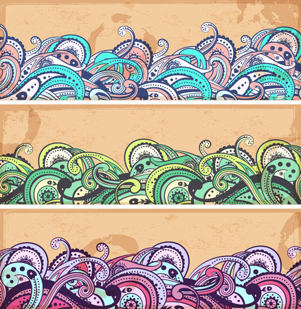 Beautiful vintage floral set of banners for your business Vector