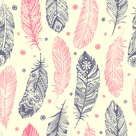 Vintage ethnic tribal feather seamless Vector