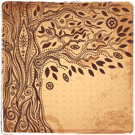 обращается: Красивая уникальных этнических дерево жизни иллюстрации