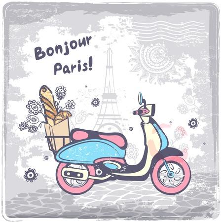 Vintage vector Paris postcard illustration for your business
