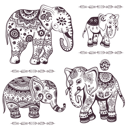 arabesco: Conjunto de dibujado a mano elefantes étnicos aislados