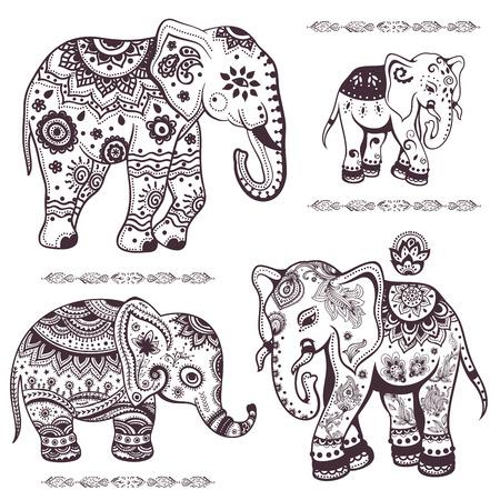 Set van hand getrokken geïsoleerde etnische olifanten