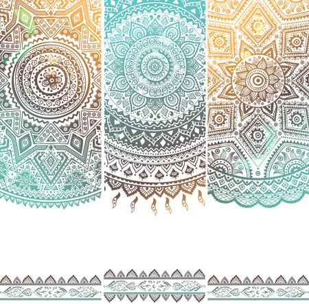 backdrop: Beautiful vintage floral set of banners for your business Illustration