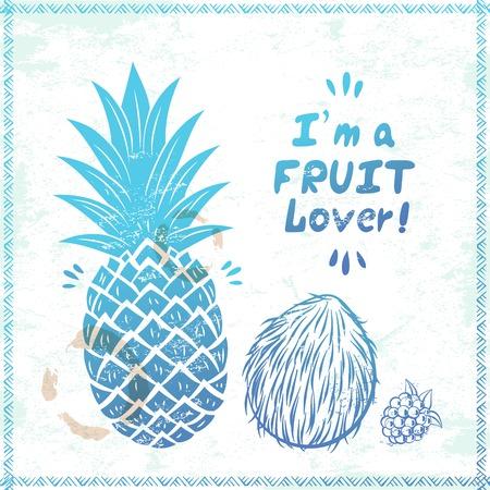 Blauwe Retro ananas illustratie voor uw bedrijf