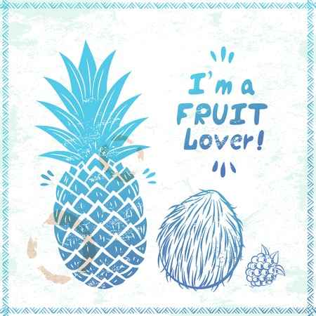Blue Retro pineapple illustration  for your business