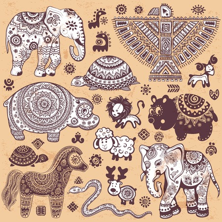 Vintage set of ethnic animals for you business Vector