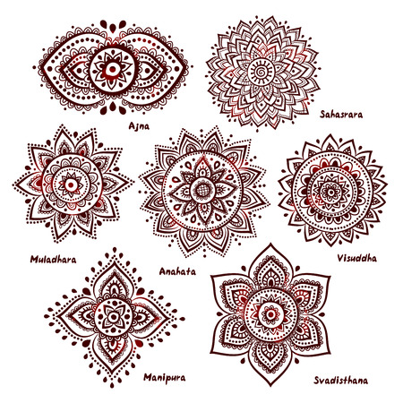 Isolierte Set der schönen Zier 7 Chakren Illustration