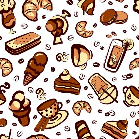 Funny Vintage Dessert seamless for your business Vector
