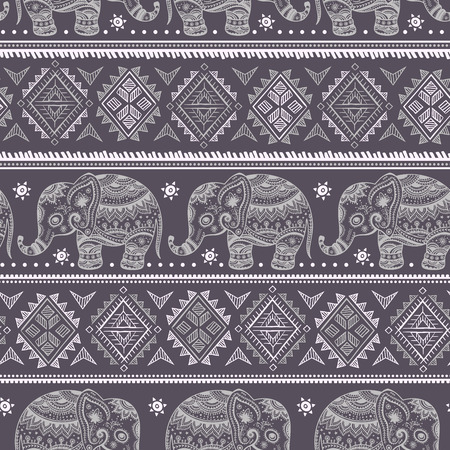 Ethnic vintage elephant seamless for you business Vector