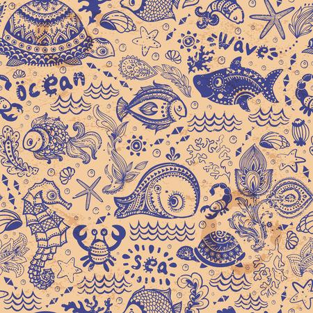 reef fish: Vector set of fish and shells Illustration