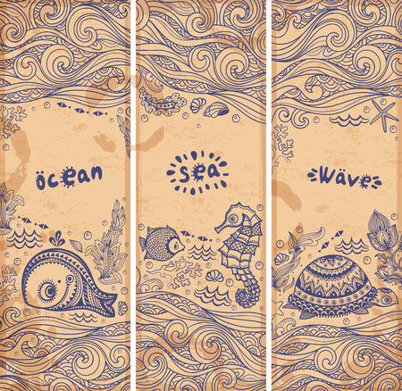 seawater: Vector set of banners with fish and shells