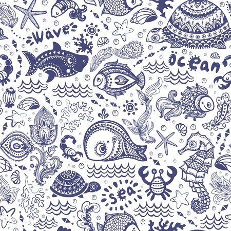 魚や貝などのベクトルを設定  イラスト・ベクター素材