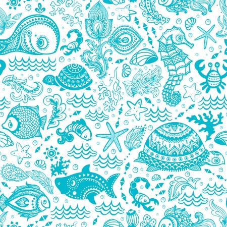Vector set of fish and shells   Vector