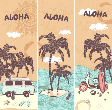 postcard: Vintage banners of the tropical island   Illustration