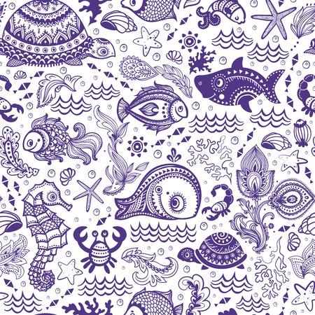caballo de mar: Vector conjunto de peces y conchas