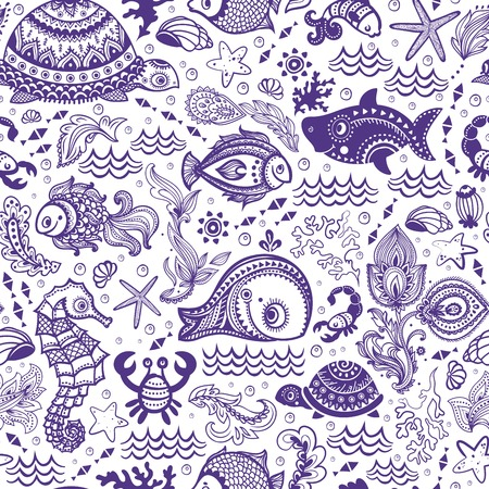Vector set of fish and shells   Ilustracja