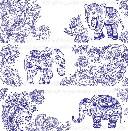 Vintage set of banners with ethnic elephants Illustration