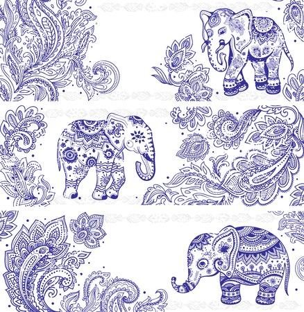 Vintage set of banners with ethnic elephants Stock Illustratie