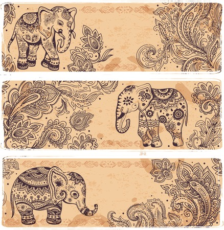 romantic travel: Vintage set of banners with ethnic elephants Illustration