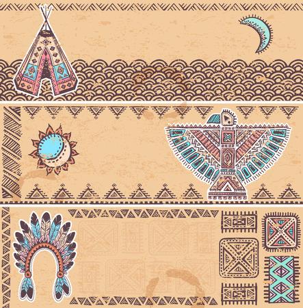 indios americanos: Vintage conjunto de banderas americanas nativas