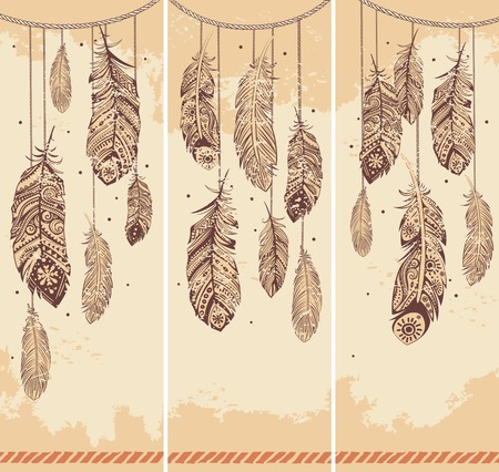 Set of banners with Ehnic feathers  Vector