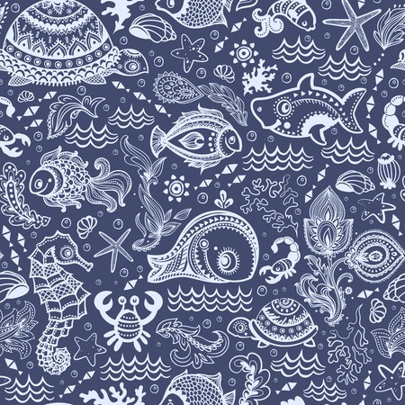Vector  fish and shells seamless