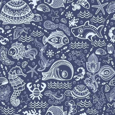 Vector vis en schelpen naadloze Stock Illustratie