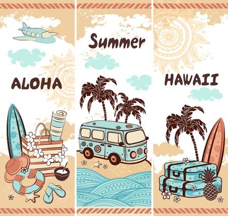 background design: Vintage summer and travel banners Illustration