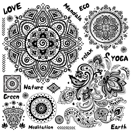 mantra: Set of ornamental Indian symbols