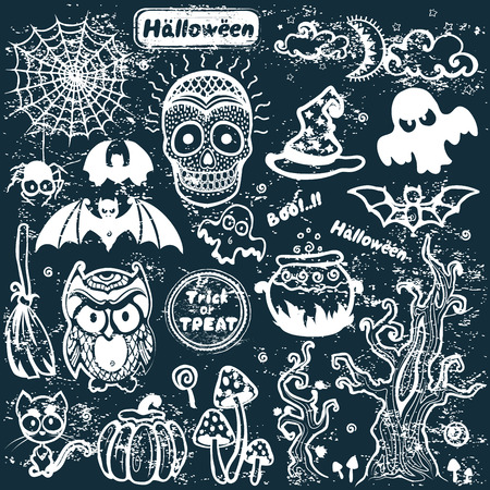 Vector vintage Halloween set of icons Vector