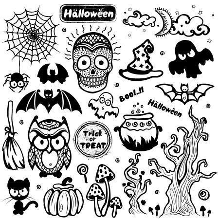 Vector vintage Halloween set of icons Vector