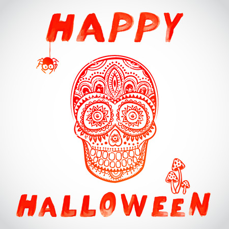 vintage Halloween skull illustration