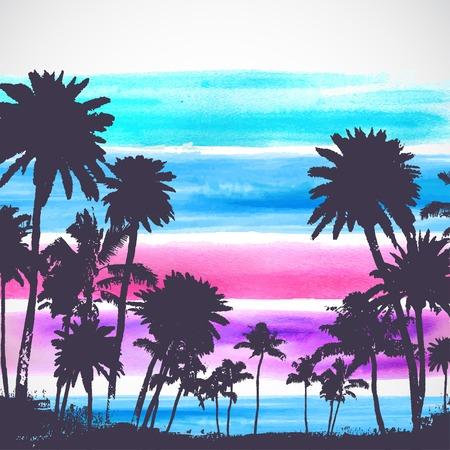 ¡rboles con pajaros: Vector Ilustración de las palmeras