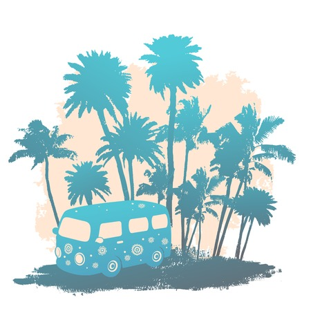 Retro Isolated Travel bus can be used as a greeting card Vector