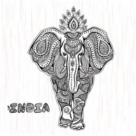 ビンテージ ベクトル インド象図  イラスト・ベクター素材