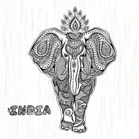 elefanten: Vector vintage indischen Elefanten Illustration