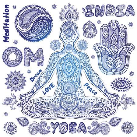 mantra: Set of ornamental Indian symbols