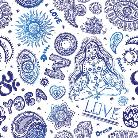 om: Beautifull seamless yoga pattern with ornaments and signs